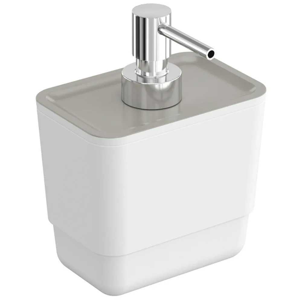 Dispenser sapone in plastica della collezione B-Smart by Cosmic - Bianco con parte superiore grigia