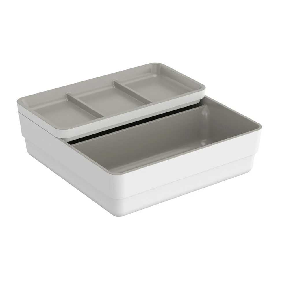 Contenitore doppio in plastica con coperchio della collezione B-Smart by Cosmic - Bianco con interno grigio