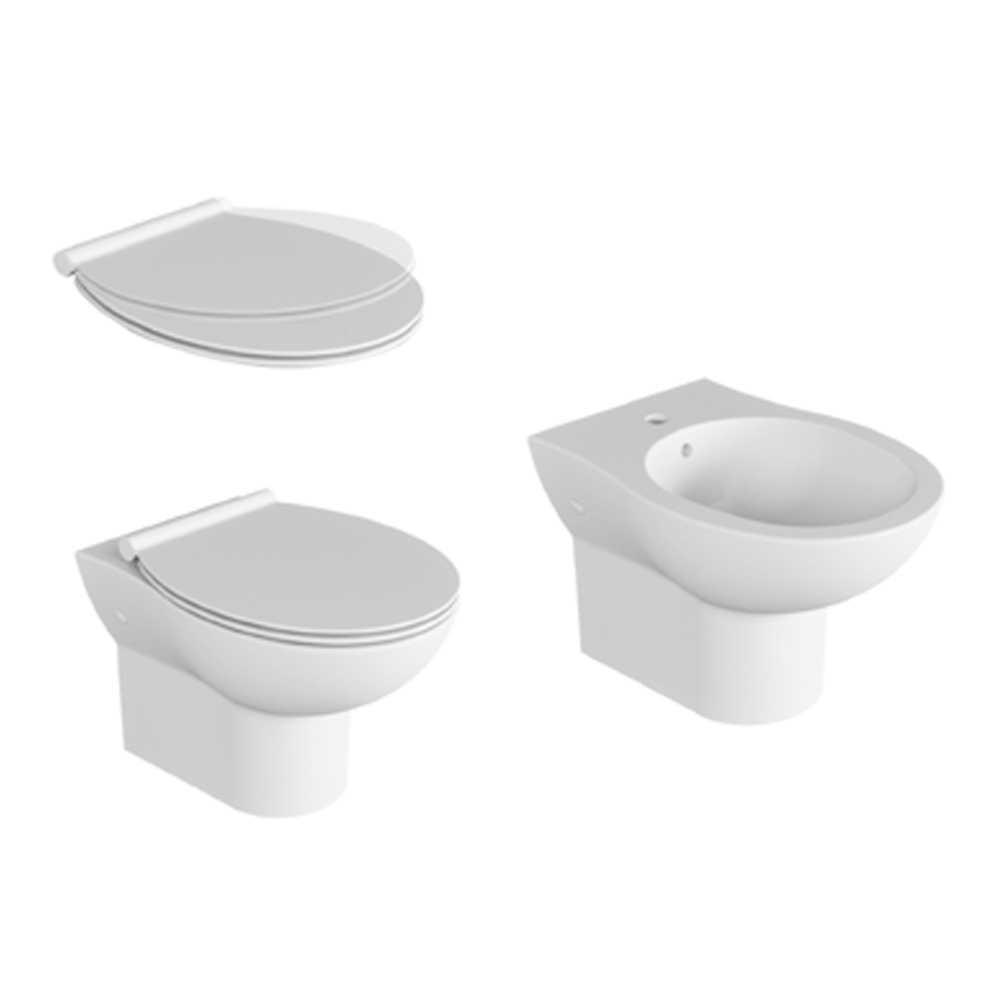Coppia sanitari sospesi con sedile soft close Ceramica Azzurra modello 'Isi cm 52