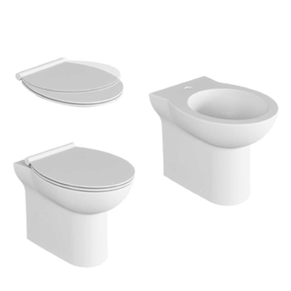 Coppia sanitari filomuro con scarico trasformabile e sedile soft close Ceramica Azzurra modello 'Isi cm 51
