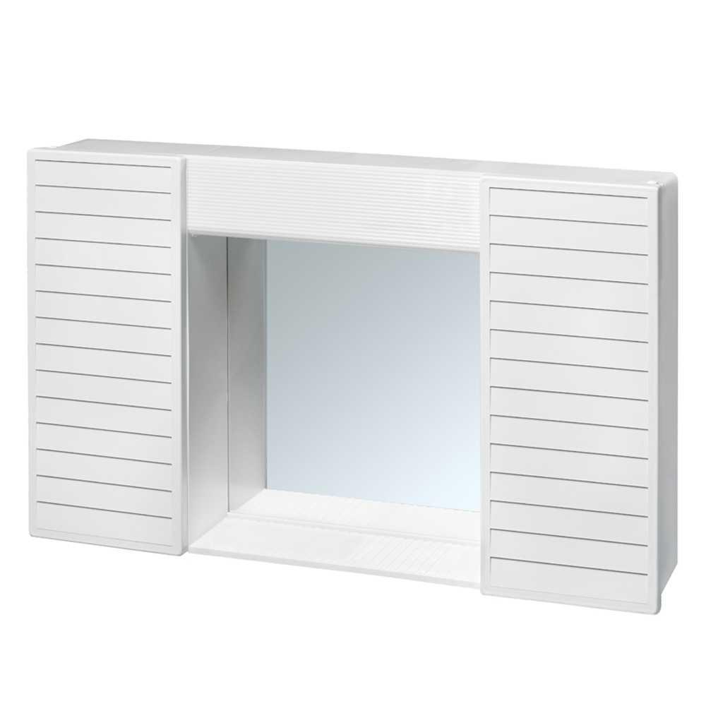 Specchio bianco Simpaty con due antine e mensola 58x37x12 cm, senza luce
