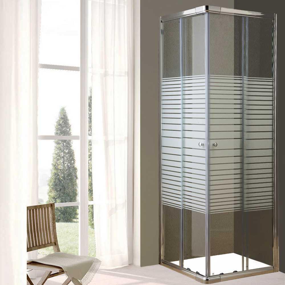 Box doccia scorrevole cm 70x70 in cristallo serigrafato mm 6 con profili in alluminio