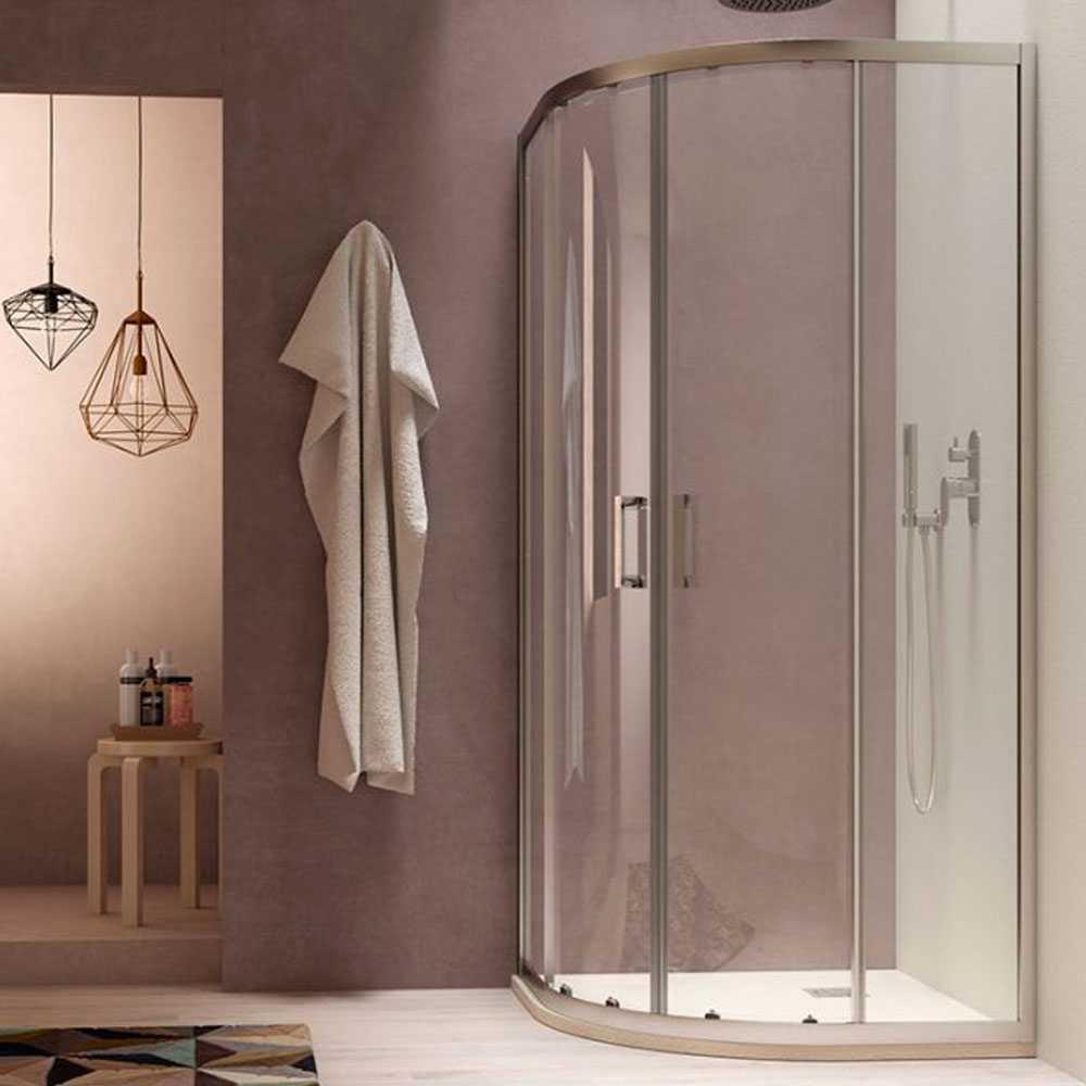 Box doccia semicircolare Loop 80x80 in alluminio e cristallo trasparente