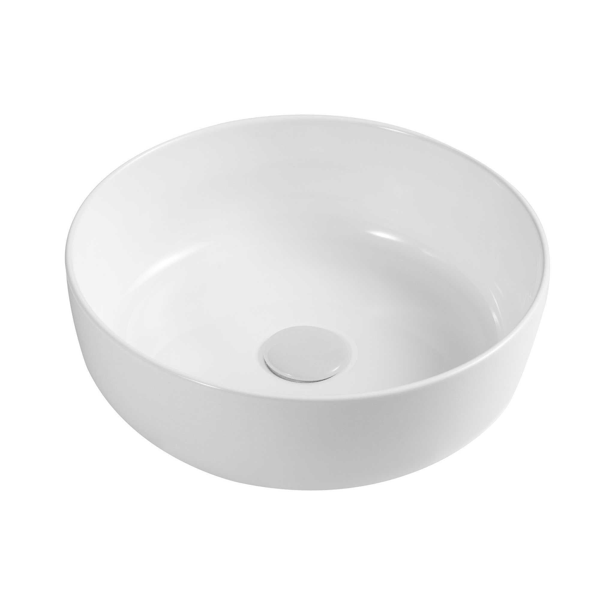 Lavabo da appoggio tondo Slim ceramica bianca diametro 33 cm