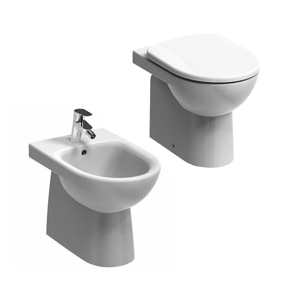 Sanitari filoparete wc+bidet +sedile normal close Geberit 'Selnova Pro' cm 53