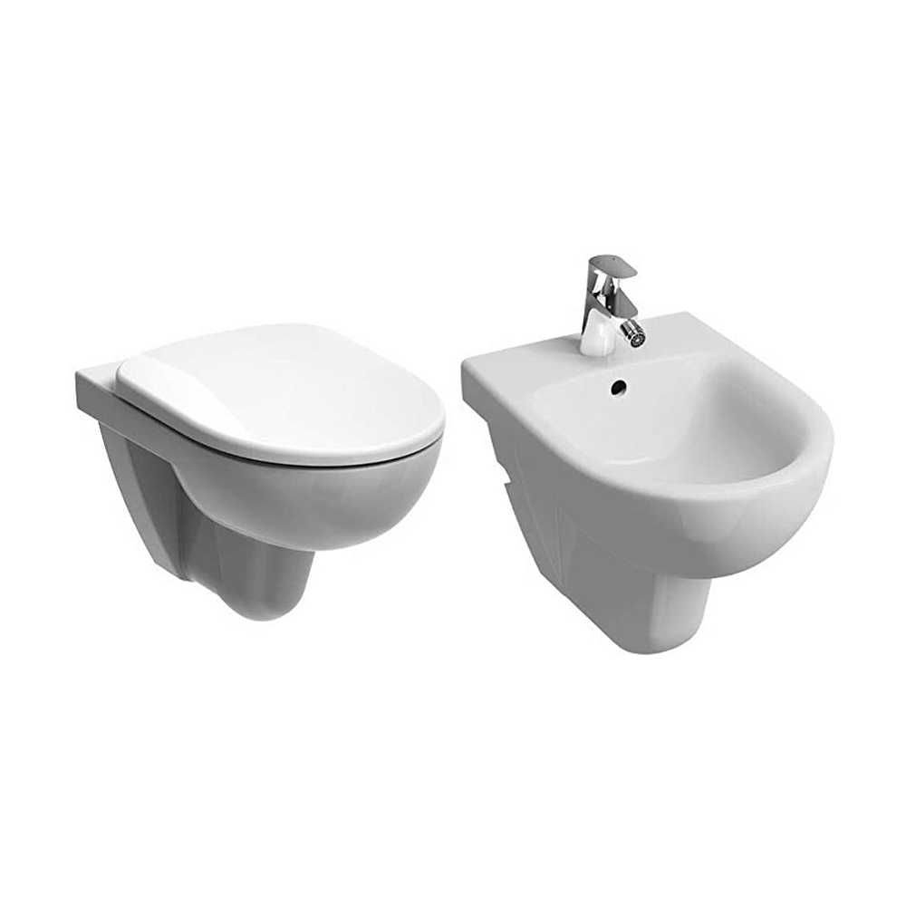 Sanitari sospesi wc+bidet +sedile normal close Geberit 'Selnova Pro' cm 53