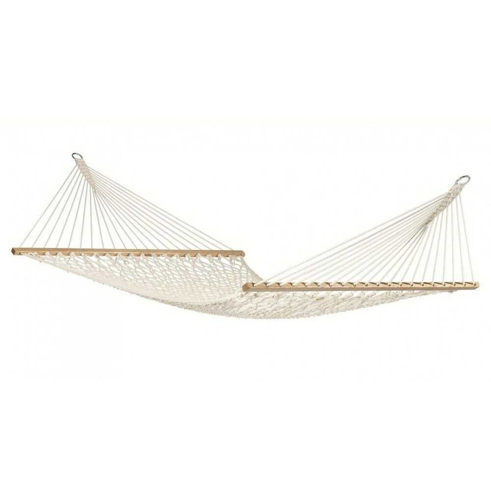 Amaca doppia bianca 150 x200 cm con rete in filo e asse in legno