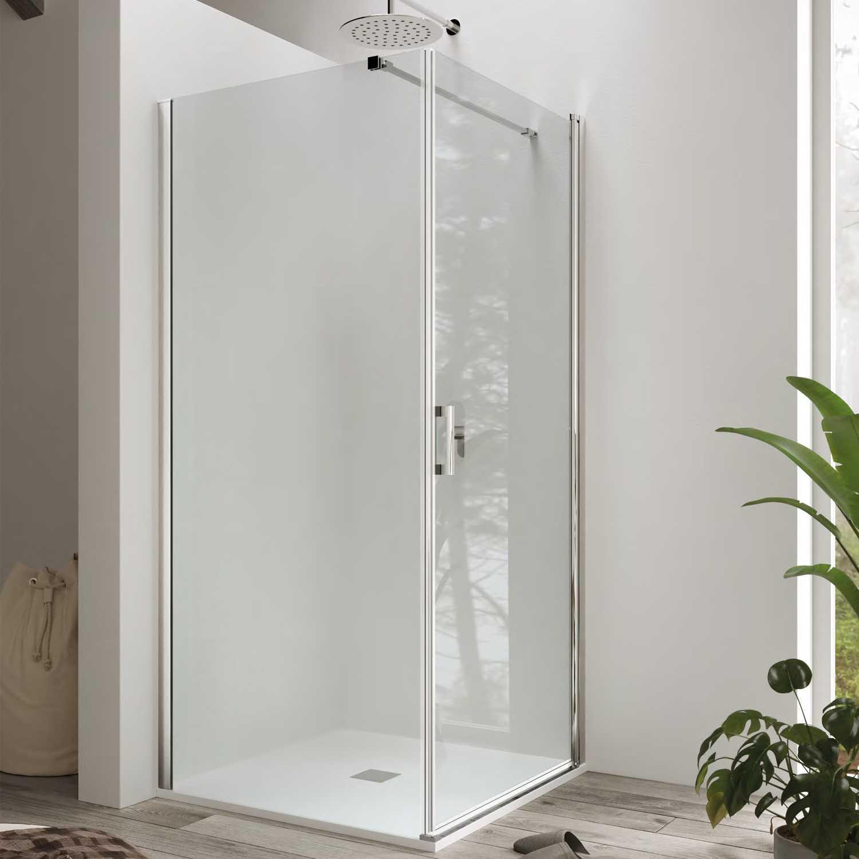Box doccia cm 80x80 con porta battente e parete fissa mod. Hermione Weiss Stern 6 mm