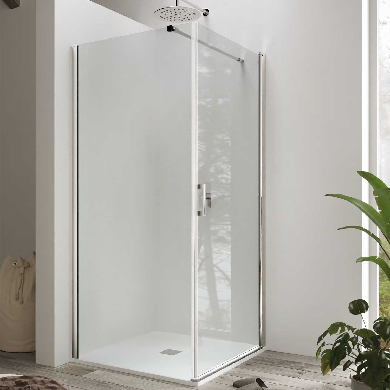 Box doccia cm 90x90 con porta battente e parete fissa mod. Hermione Weiss Stern 6 mm