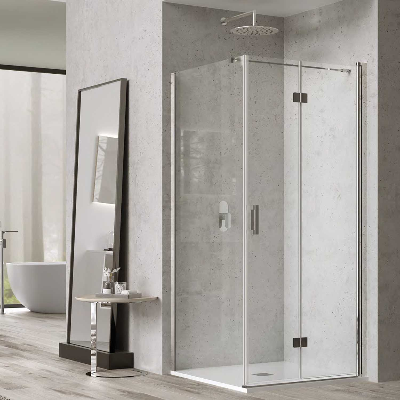 Box doccia cm 90x90 con porta a soffietto e parete fissa mod. Hermione Weiss Stern 6 mm