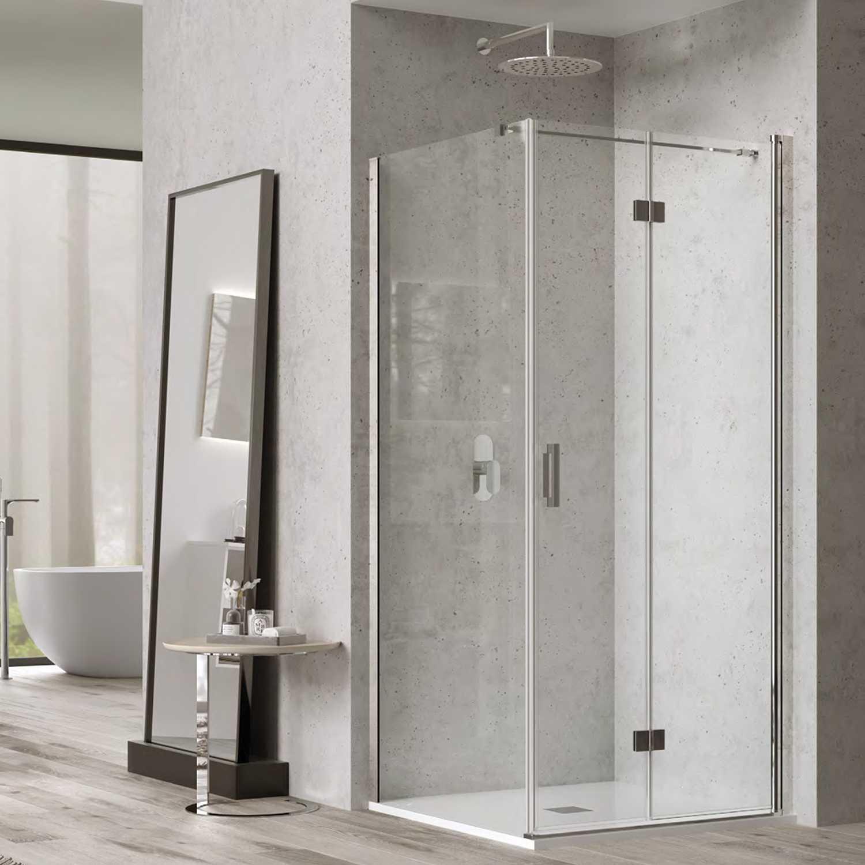 Box doccia cm100x70 con porta a soffietto e parete fissa mod. Hermione Weiss Stern 6 mm