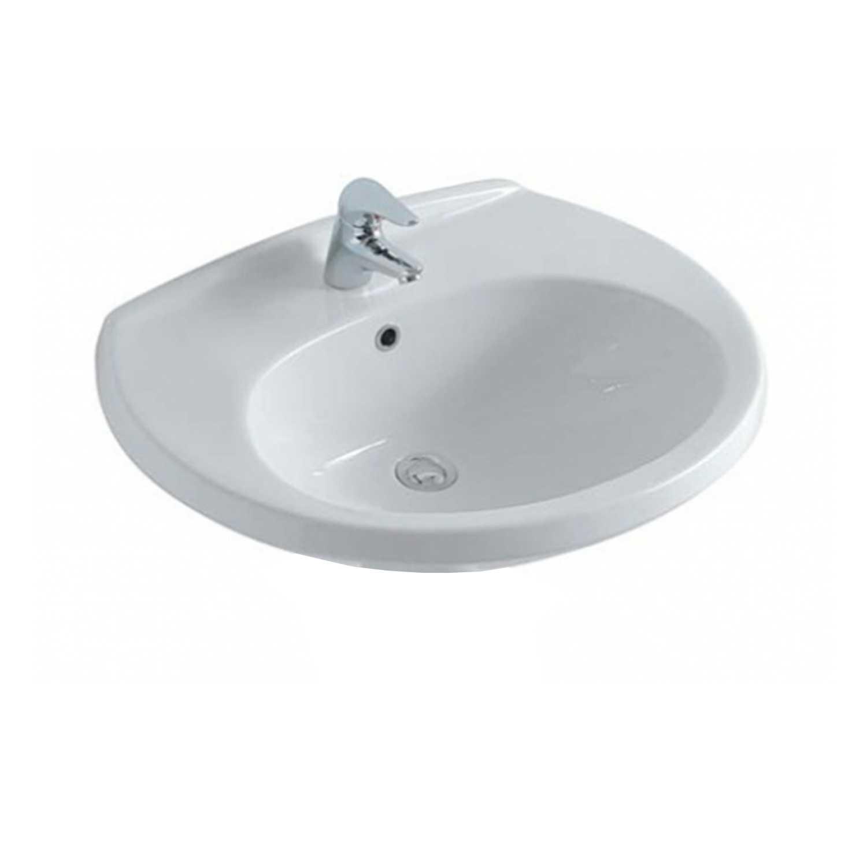Lavabo in ceramica installazione sospesa o su colonna modello Arianna di Globo cm 66x55