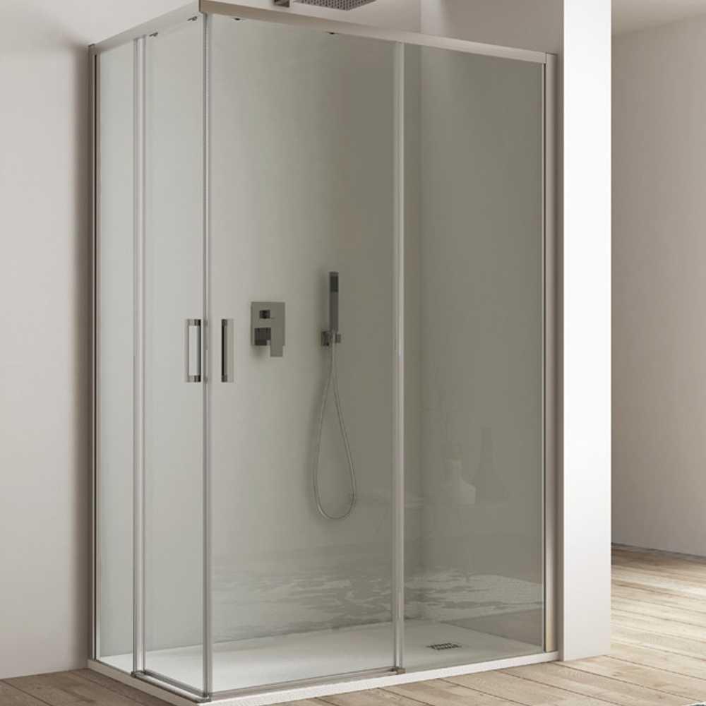 Box doccia quadrato con apertura angolare cm 70x70 modello Afrodite in cristallo temperato mm 6