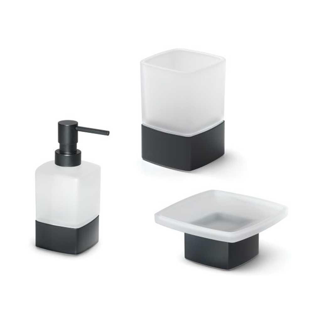 Set Accessori Bagno Gedy collezione Lounge in vetro con base in alluminio verniciato nero
