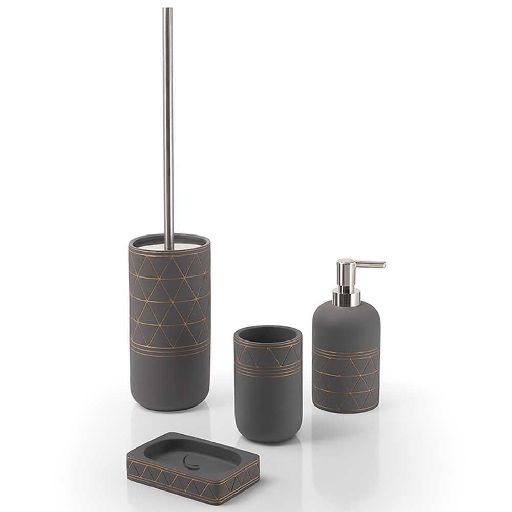 Set Accessori Bagno Gedy collezione Calipso in cemento grigio con decorazioni incise color rame