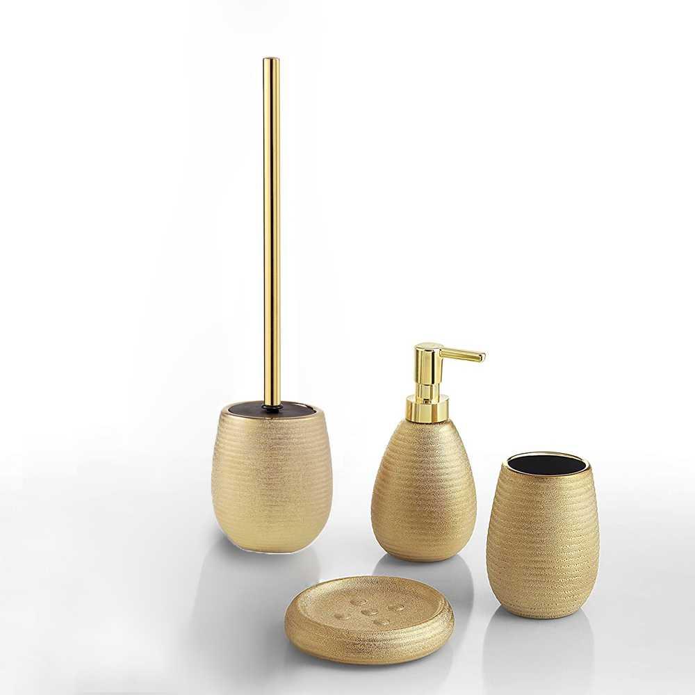 Set Accessori Bagno Gedy collezione Astrid in ceramica color oro