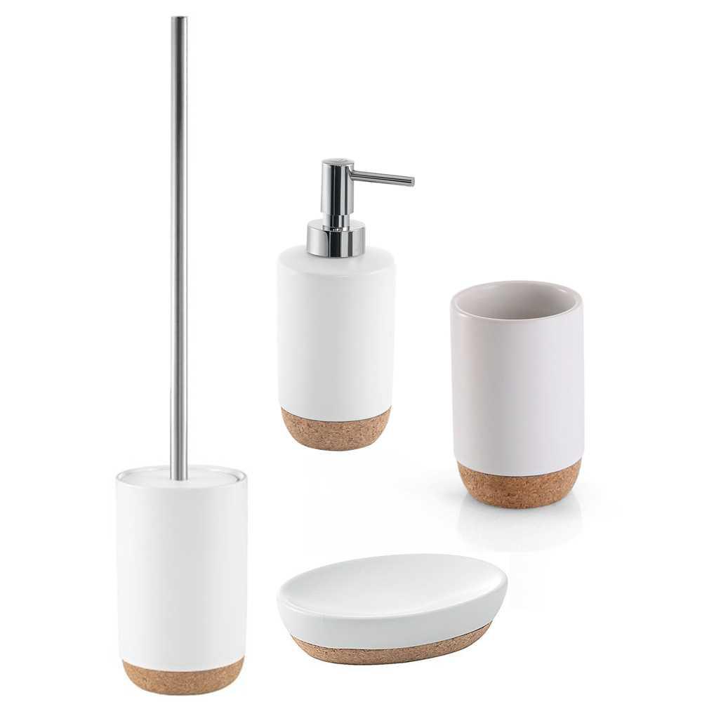 Set Accessori Bagno Gedy collezione Ilary in ceramica bianca e sughero