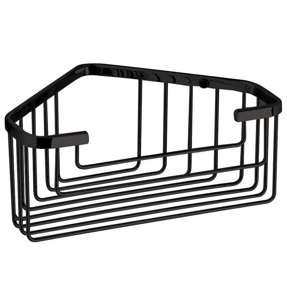Portaoggetti doccia in filo Gedy in acciaio inox cromato nero 25,2x10,2x8,6 cm