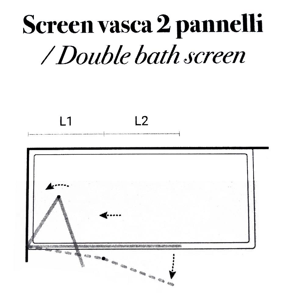 Parete Vasca a due pannelli cm 120 in cristallo trasparente da 6 mm temperato modello Ermes