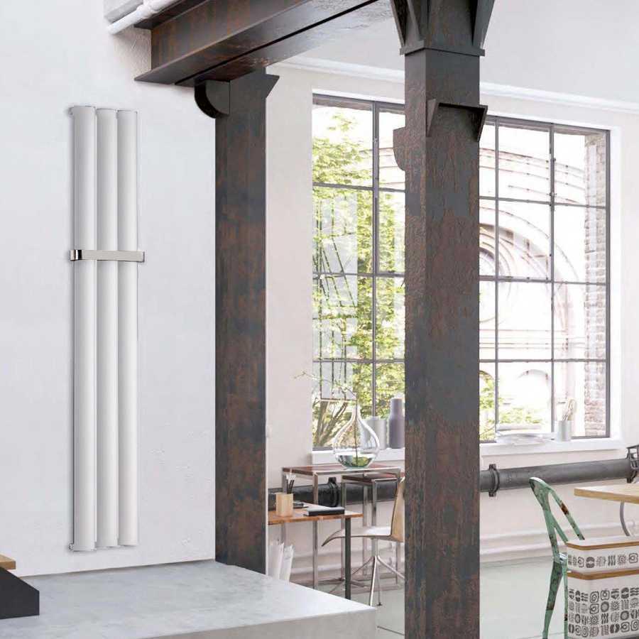 Radiatore in alluminio idraulico 3 elementi  cm 28x180 interasse cm 28 resa termica 641 Watt Decowarm modello Serez Bianco Opaco