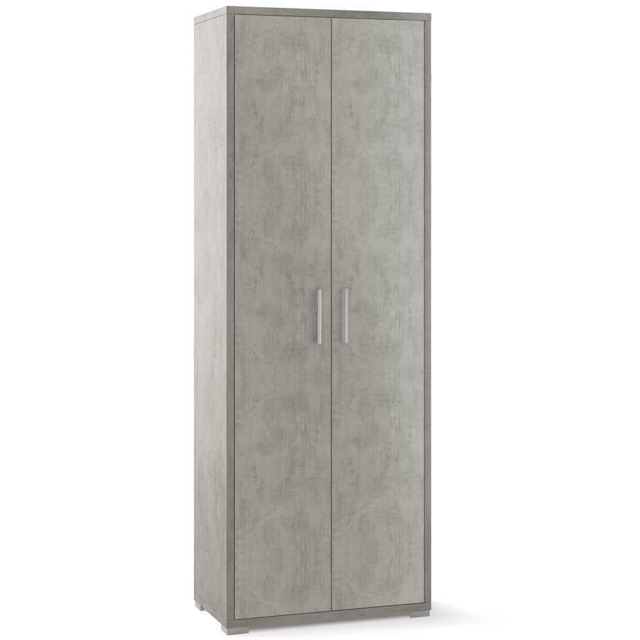 Mobile multiuso a due ante con ripiani per interni cm 70x41x199h colore Cemento