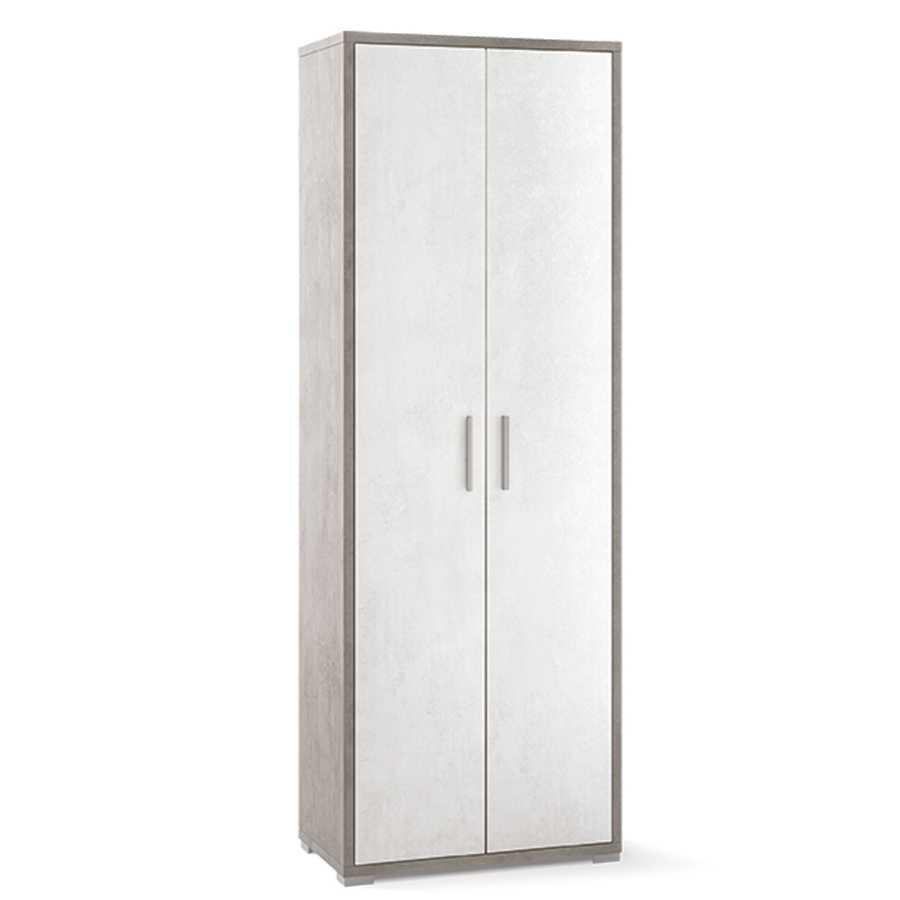 Mobile multiuso a due ante con ripiani per interni cm 70x41x199h colore Cemento-Ossido Bianco