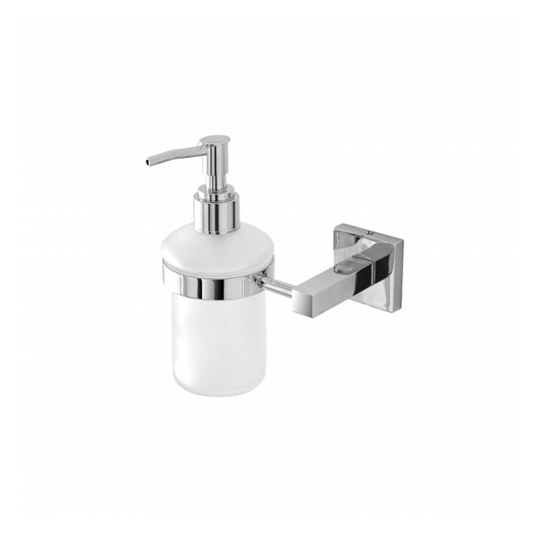 Dispenser dosa sapone a pompetta in Cromall e vetro satinato con piastra quadrata serie Square