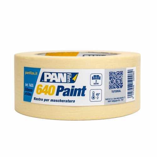 640 PAINT  Nastro in carta semicrespata per mascheratura edile resistente fino a 50°.  19x50 mmxmt