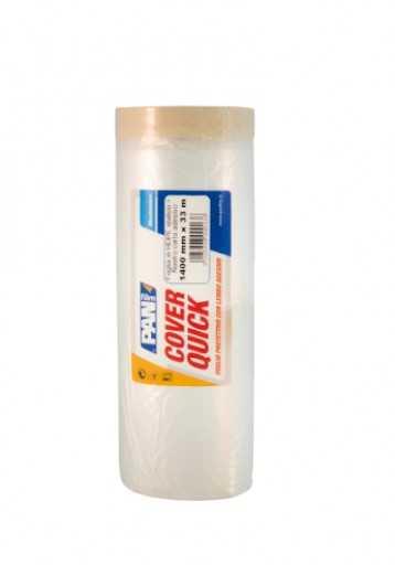 COVER QUICK-PE 55X20 cmxmt Telo protettivo in HDPE con lembo adesivo in nastro carta. Ottimo sia per lavori di edlizia, che di carrozzeria.