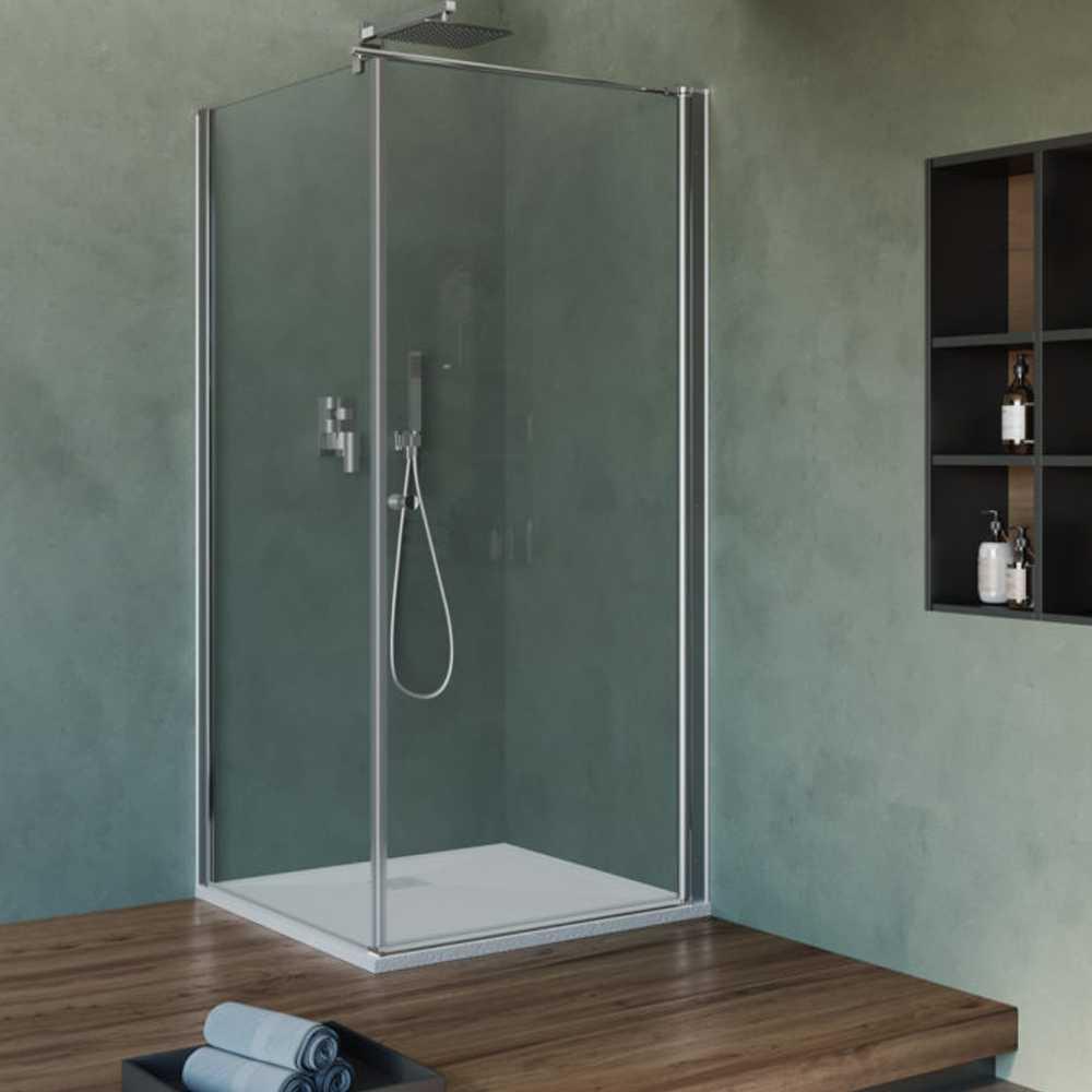 Box Doccia cm 70x70 con porta apertura battente e parete fissa in cristallo trasparente 6 mm
