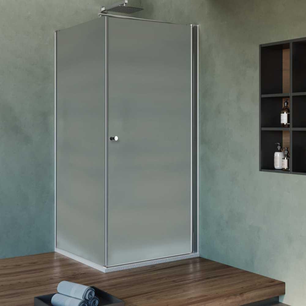 Box Doccia cm 80x80 con porta apertura battente e parete fissa in cristallo opaco 6 mm
