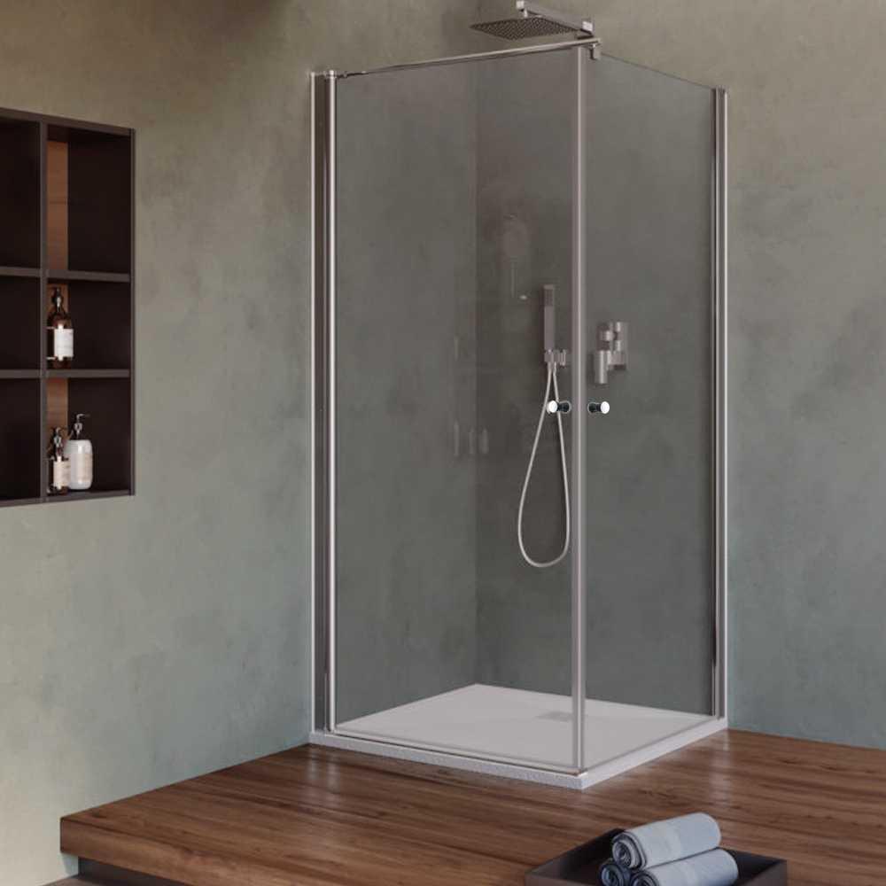 Box Doccia cm 70x70 con porta apertura due battenti in cristallo trasparente 6 mm