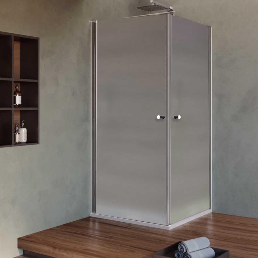 Box Doccia cm 70x70 con porta apertura due battenti in cristallo opaco 6 mm