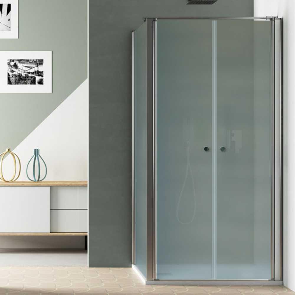 Box Doccia Angolare 70x70 con porta apertura saloon e parete fissa in cristallo opaco 6 mm