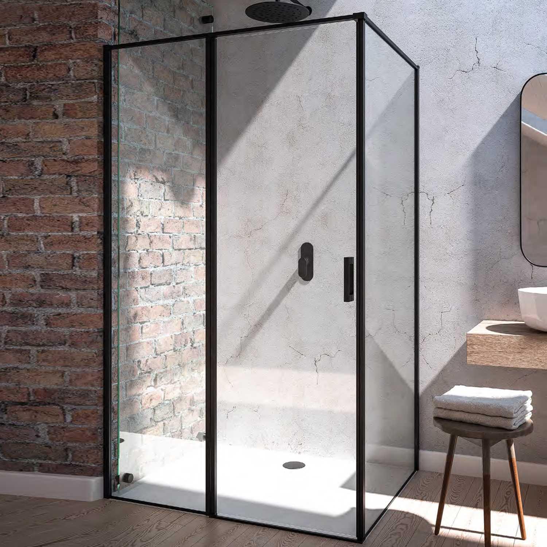 Box doccia cm 90x70 con porta battente SX e parete fissa Black Series Weiss Stern 6 mm- Nero Opaco