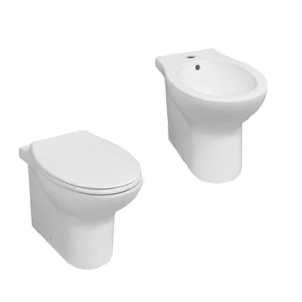 Sanitari filomuro con wc senza brida a scarico trasformabile e sedile soft close Ceramica Azzurra 'Clik' cm 52