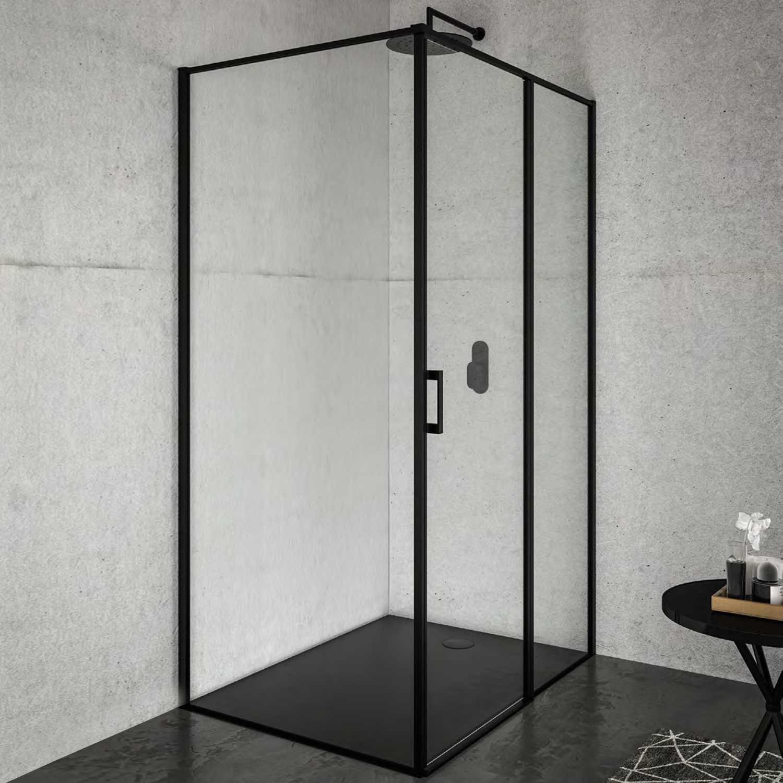 Box doccia cm 100x70 con porta battente  DX e parete fissa Black Series Weiss Stern 6 mm- Nero Opaco
