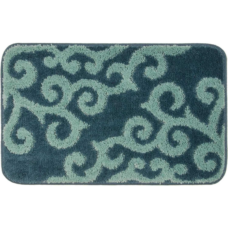 Tappeto bagno con fantasia arabesca e retro antiscivolo cm 50x80 Blu/Verde