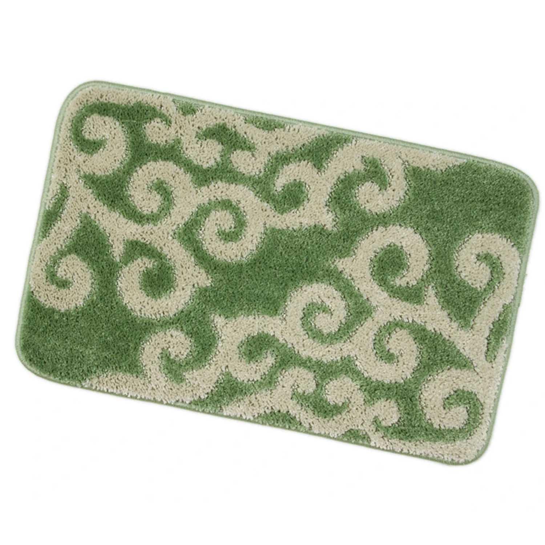 Tappeto bagno con fantasia arabesca e retro antiscivolo cm 50x80 Verde