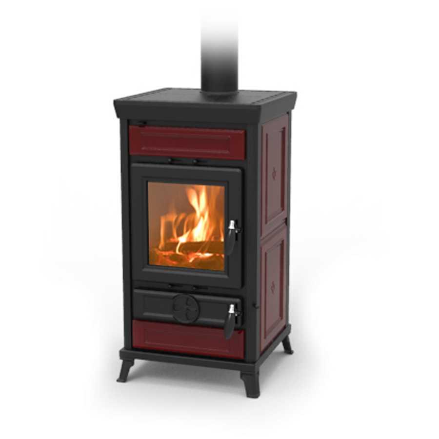 PROMO - Stufa a legna Thermorossi Ilaria Maiolica color bordeaux potenza termica KW 13,1 area riscaldabile 100mq