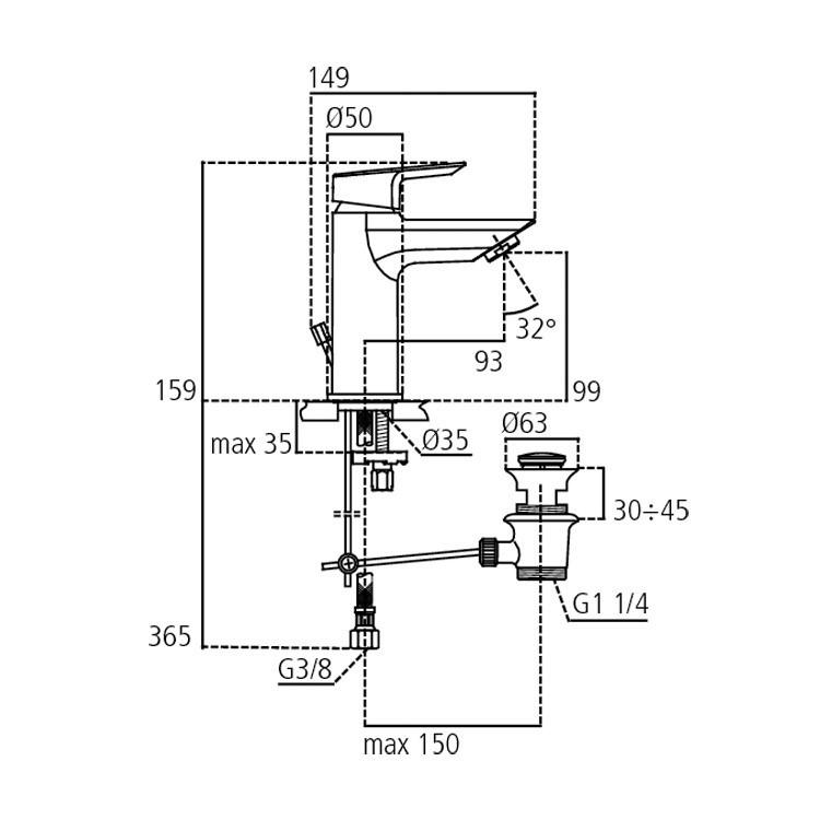 Miscelatore per lavabo Ideal Standard Ceramix con piletta di scarico