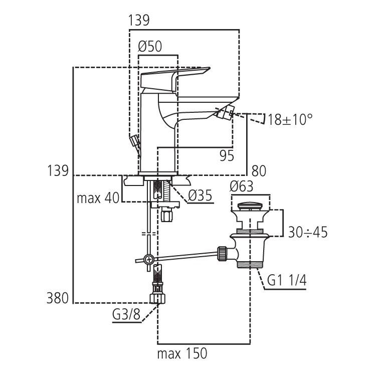 Miscelatore bidet Ideal Standard Ceramix completo di scarico
