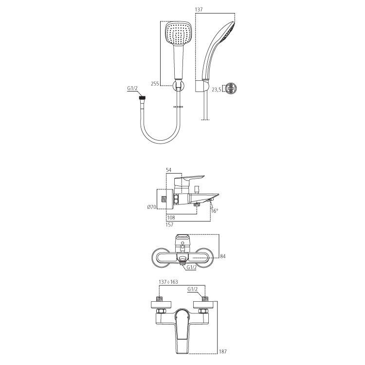 Miscelatore Miscelatore vasca con set doccia e maniglia design squadrato tutto in ottone cromo lucidoonocomando per vasca con set Duplex Ideal Standard Ceramix