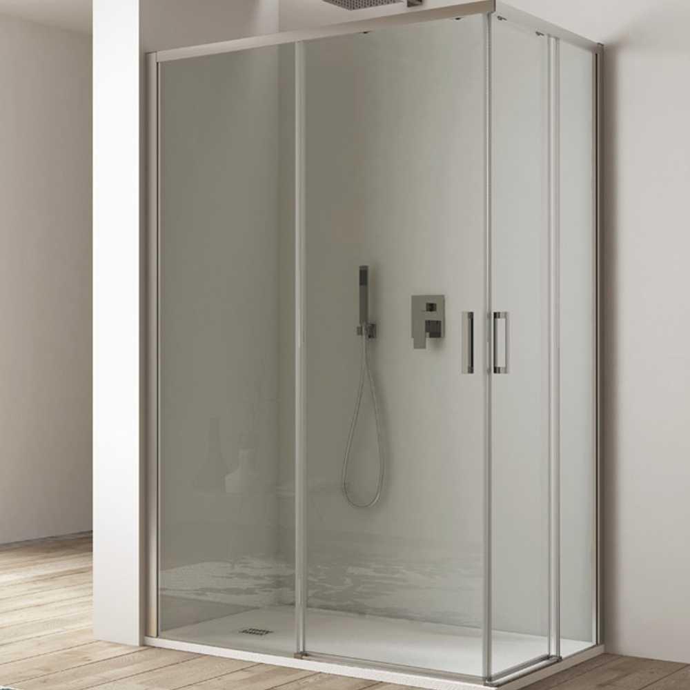 Box doccia con apertura angolare cm 100x70 modello Afrodite in cristallo temperato mm 6- Lato sinistro