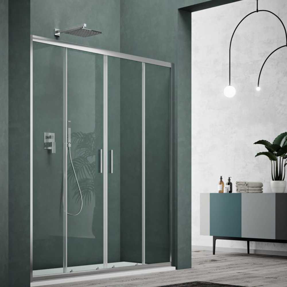 Porta doccia due scorrevoli apertura centrale cm 160 modello Smart in cristallo temperato mm 6