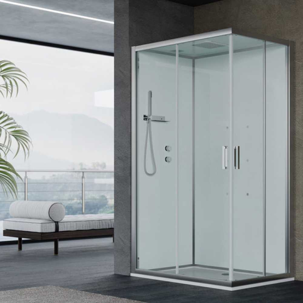 Cabina doccia multifunzione Ercole cm 120x70 con idrogetti dorsali- Versione Sinistra