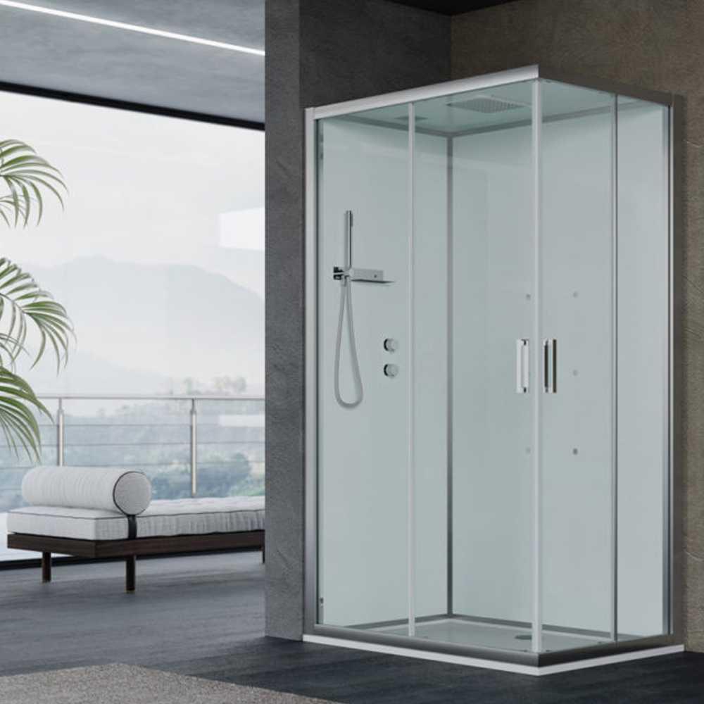 Cabina doccia multifunzione Ercole cm 120x80 con idrogetti dorsali - Versione Sinistra