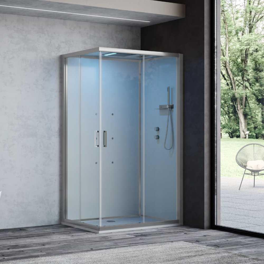 Cabina doccia multifunzione Ercole Plus cm 120x70 con idrogetti dorsali Bluetooth e Cromoterapia- Versione Destra