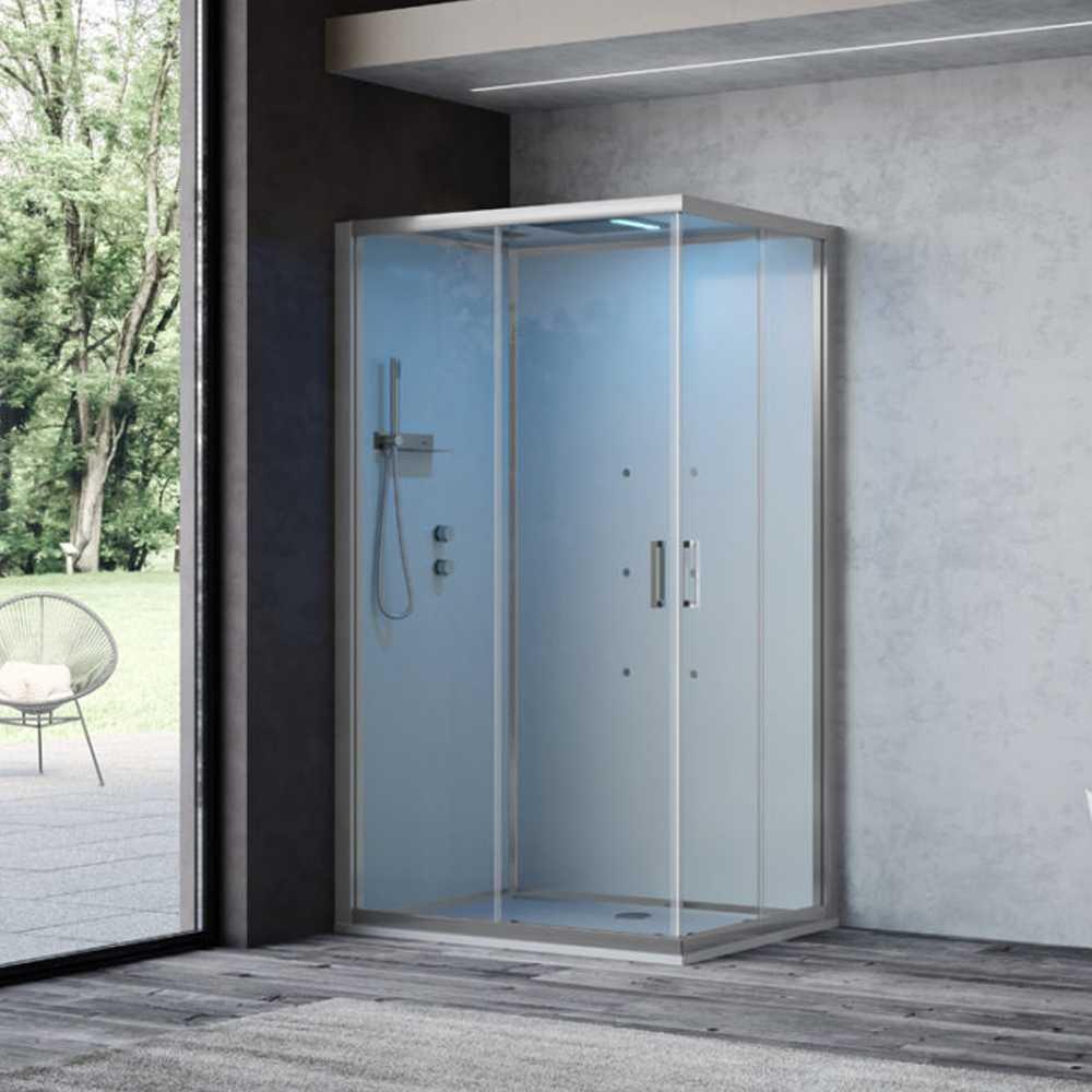 Cabina doccia multifunzione Ercole Plus cm 100x80 con idrogetti dorsali Bluetooth e Cromoterapia- Versione Sinistra