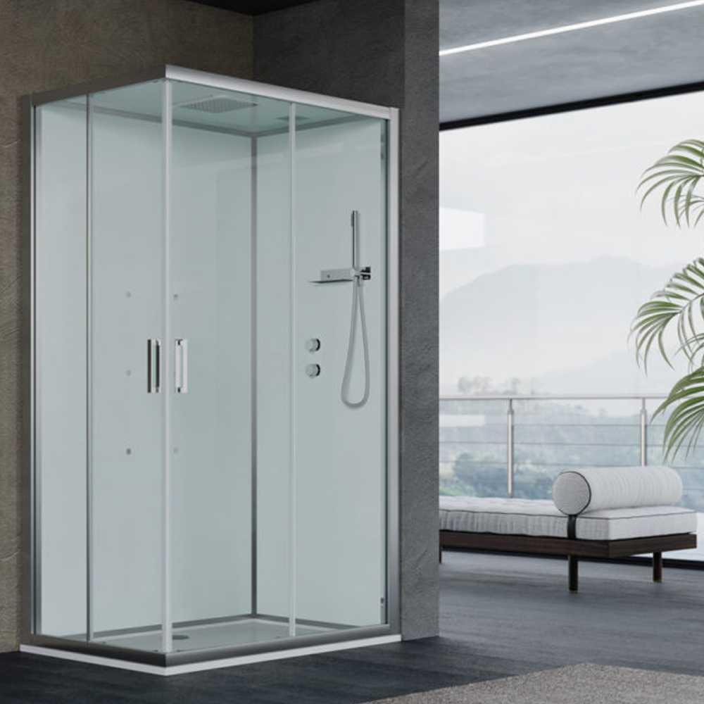 Cabina doccia multifunzione Ercole cm 120x80 con idrogetti dorsali - Versione Destra